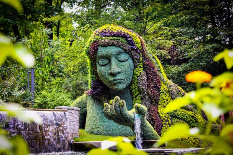 Plant statue of woman
